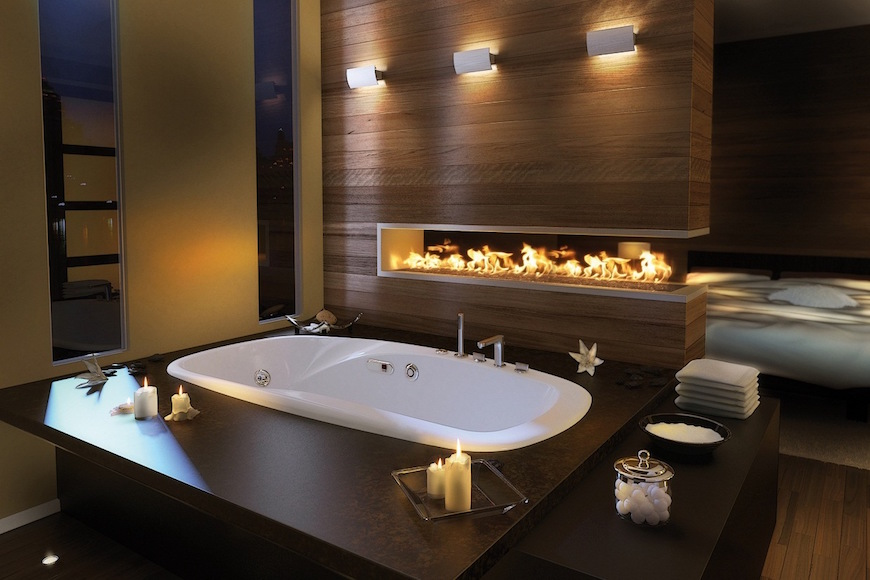 bathroom with a fireplace, winter trends, bathroom, fireplace, romantic, heat, interior designers, Maison Valentina bathroom with a fireplace Winter Trends: Why You Should Have a Bathroom with a Fireplace 10 Stunning Bathrooms with Fireplaces to Inspire You 8