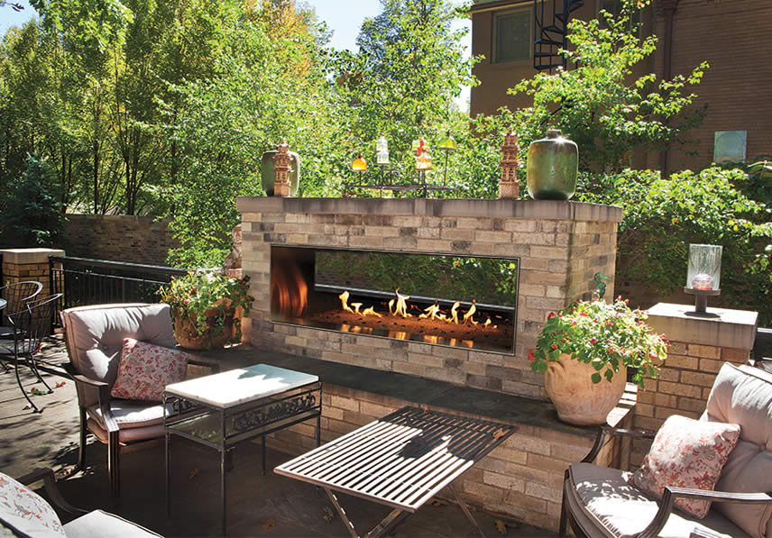 Outdoor Firestyles That Create Impact americanhearthcarolroseOLL48SPOutdoorSee ThruLinear
