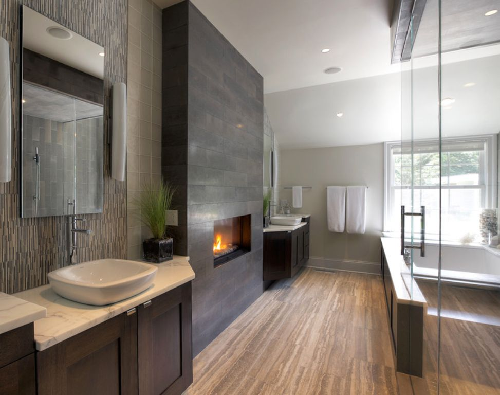 bathroom with a fireplace, winter trends, bathroom, fireplace, romantic, heat, interior designers, Maison Valentina bathroom with a fireplace Winter Trends: Why You Should Have a Bathroom with a Fireplace z mbf19 112017