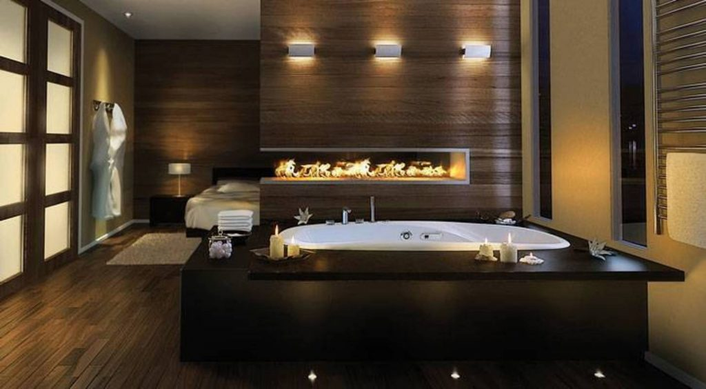 fireplace-bathroom-ideas  Places You Never Thought of Putting a Fireplace Places You Never Thought of Putting a Fireplace 1024x564