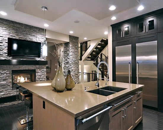 kitchen-fireplace  Places You Never Thought of Putting a Fireplace Places You Never Thought of Putting a Fireplace 4